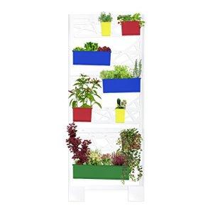 Jardin vertical en métal pour plantes avec système de récupération de l'eau superflue. Jardinière avec pots pour plantes, conçue pour le réutilisation et recyclage de l'eau en excès Par tuyaux de drainage. Structure verticale modulaire et facile à installer. Design moderne, simple et innovant. Mural Vert Vertical pour balcons, maison ou terrasses. B10minimaliste vertical garden–Elite Pop Edition–Dim 804x 1975x 190mm–Couleur Blanc + Pots Pop (jaune–rouge–bleu–vert)