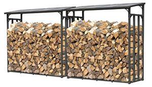 QUICK STAR Lot de 2 étagères de cheminée en métal Anthracite XXL 185 x 70 x 185 cm Espacement des Bois 4,6 m3