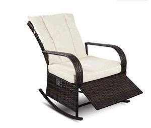 YOUKE Fauteuil à Bascule en rotin PE Mobilier Fauteuils berçants Sofa de Patio Ajustable automatiquement (Brown)