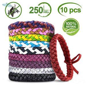 YQHbe Bracelet Anti Moustique, RéPulsifs Anti-Moustiques Bracelet 100% Naturel pour Adultes Et Enfants,BéBé Anti Moustique Bracelets, Protection Longue Contre Moustiques Et Insectes ExtéRieur-10 PCS