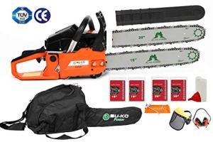 BU-KO 62cc tronçonneuse essence 3.4HP 20″barre avec 2 chaînes et 16″ barre avec 2 chaînes – sac de couverture et équipement de sécurité complet