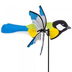 CIM Girouette – CIM Petite 2 en 1 KOHLMEISE – hélice Ø31cm, Longueur 41cm, hauteur totale 90cm – incl. tige de fixation en fibre de verre et système de suspension