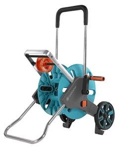 GARDENA Dévidoir Aquaroll M Easy : dévidoir sur roues d'une capacité de 60 m, particulièrement stable, avec guidage confortable dans un cadre métallique robuste, montage sans outil (18515-20)