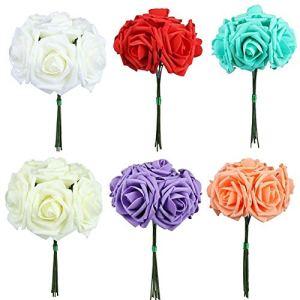 jasminelady 1 Bouquet PE Mousse 10 Têtes Artificielle Faux Rose Fleur Mariée De Mariage DIY Décor De Célébration De Mariage Artificielle Rose Faux Rose Real Look Rose Bouquet Bleu Royal