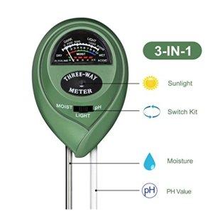 Sungpunet – Testeur 3 en 1 – Testeur d'humidité du sol, d'ensoleillement et d'acidité – Pour sol végétal – Idéal pour pelouse de ferme et jardin
