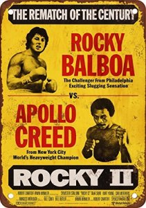 1979 Rocky Balboa vs Apollo Creed Reproduction Metal Sign Pancarte en métal Vintage
