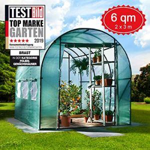 BRAST Serre de Jardin Tunnel 6m2 (3×2), extrêmement stable : Tubes d'acier galvanisés et Film spéciale de protection grillagé 175g/m2, aération optimale, montage rapide, Serre de jardin tomate