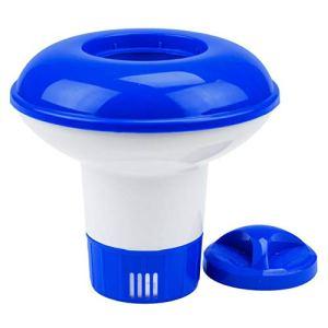 Distributeur Flottant de Distributeur de comprimé Chimique en Plastique Distributeur de Brome de Distributeur Automatique de Produit Chimique pour Piscine pour Spa de Piscine Bleu Blanc WEIWEITOE