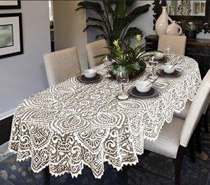 Grande nappe de table ovale ou ronde avec motif dentelle Blanc ou beige, blanc, 140cm x 290cm (55″ x 114″) Oval