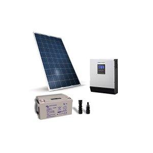 PuntoEnergia Italia – Kit Chalet 260W 12V Pro Panneau Off-grid Onduleur 1200W 12V batterie 90Ah – KBA-260P-12-1500-B90-AVF
