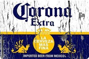 qidushop Corona Extra Bier Label Vintage Look Reproduction Metal Signs Plaque en Aluminium Humoristique pour Garage Maison Cour Clôture Allée 20 x 30 cm