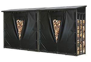 QUICK STAR Lot de 2 étagères en métal pour Bois de cheminée Anthracite XXL 185 x 70 x 185 cm avec Protection Contre Les intempéries pour Le Jardin et Le Bois de cheminée 4,6 m3