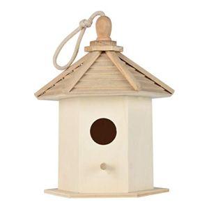 Rameng Nichoir pour Oiseaux Maison à Oiseaux en Bois Naturel Mésanges à Suspendre Décoration Jardin (B,26x17x15cm)