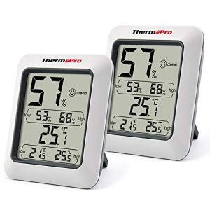 ThermoPro TP50 Hygromètre Numérique Thermomètre Intérieur Thermomètre D'ambiance et Indicateur D'humidité avec Moniteur D'humidité et de Température, 2 Pièces