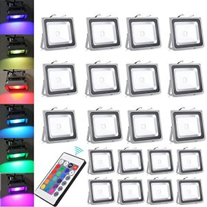 WIDEN ELECTRIC Projecteur LED RVB LED RGB Lampe de Projecteur IP65 50W avec la Télécommande (20 PCS)