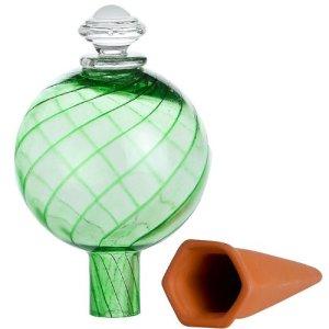 Bio Green HCR-24-G-A Distributeur d'eau pour plantes en pot avec réservoir en cristal et pieu en terre cuite Vert Taille XL 0,7l