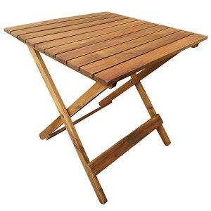 casa pura Table Pliante en Bois – Table d'appoint pour Terrasse, Balcon, Jardin   Table Basse en Bois d'Acacia huilé résistant aux intempéries   50x50x50 cm