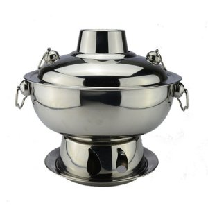 Copper Hot Pot Stove Chimney Pot Outdoor Chinese Chongqing Charcoal Hotpot Cooker Picnic Cooker (silver)