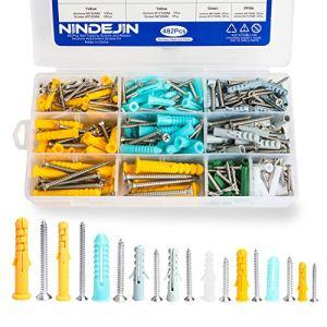 NINDEJIN cheville universelle avec vis,482 pièces boîte de rangement de kits de boulons de kit d'extension de kit d'assortiment de vis auto-taraudeuses