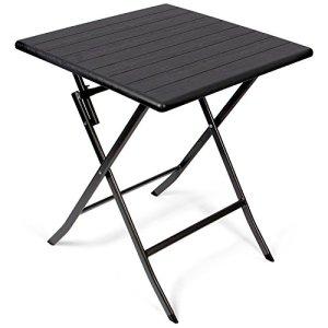 Vanage – Table d'appoint – Table de Jardin carrée avec Effets bois – Structure en acier – Pliable et ultra compacte – Parfait pour Jardin, Terrasse et Balcon