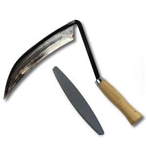 Faux / Faucille avec manche en frêne 14 cm – avec pierre à aiguiser – Fait à la main en Allemagne