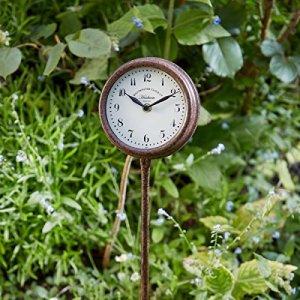 Piquet de jardin Horloge d'extérieur en métal Décoration de bordure Finition rouille 2ans de garantie