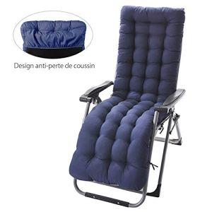 willkey Coussin Chaise Longue avec Anti-dérapant Transat Bain de Soleil Jardin Haut Epais pour Fauteuil (Bleu)