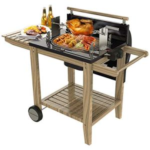 YAOZEDI-ElectricGrills BBQ Grill, Barbecue en Acier Inoxydable, Chariot Barbecue Portable pour 5-10 Famille Jardin en Plein air Cuisine Camping