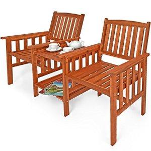 Banc de jardin 2 places bois d'acacia extérieur avec table support et accoudoirs fauteuil jardin balcon