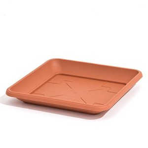 Plateau soucoupe en plastique TERRA 14 cm carré, marron couleur