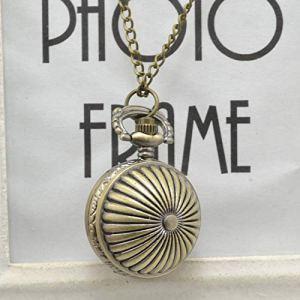 Vintage Antique Cadran Rond Quartz Montre de Poche Collier Horloge Pendentif pour Les Cadeaux d'anniversaire des Femmes – Orange Citrouille