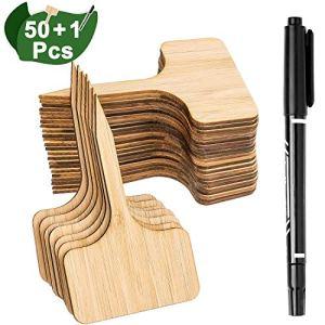Whaline 50Pcs Étiquettes de Plantes en Bambou avec Un Stylo Marqueur, Plante Tags en Bois de T-Type Jardin Marqueurs pour Graines Pot Herbes Fleurs Légumes (6 x 10 cm)