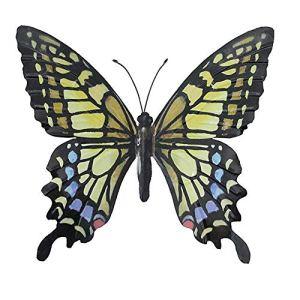 Grande décoration murale pour jardin – En métal coloré – Motif papillon – 31cm x 35cm
