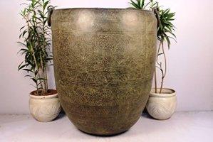 IndianShelf Pot de fleurs fait main Bronze antique 71 cm
