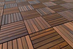Terrasses Carrelage | Thermo Frêne | Plaque| Fiche Système | Naturel Bois | 33x33cm – 558 Pièces – 60.77 Qm