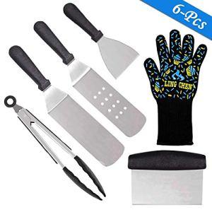 Conthwas Lot de 6 spatules de Cuisson Professionnelles pour Barbecue avec Gants résistants à la Chaleur en Acier Inoxydable pour Barbecue, Barbecue, Barbecue, Cuisson à Plat, Camping et hayon