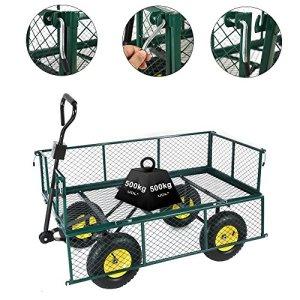 Anaelle Pandamoto Chariot de Transport Charrette à Bras sur Maison, Jardin, Entrepôt et Ferme etc, Support Maximale de 500kg, Taille: 122*61*66.5cm, Poids: 26kg, Vert et noir