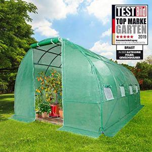BRAST Serre de Jardin Tunnel 12m2 (3×4), extrêmement stable : Tubes d'acier galvanisés et Film spéciale de protection grillagé 175 g/m2, aération optimale, montage rapide, Serre de jardin tomate