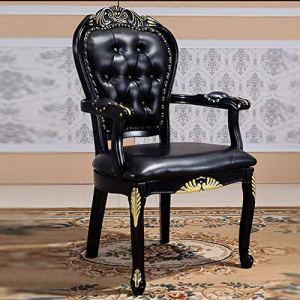 Chaises de salle à manger Comptoir de cuisine Chaise en cuir noir en bois sculpté Or CHAISE Bureau de négociation Chaise Bureau Chaise Assemblée Simple Pack 2 ( Couleur : Noir , Taille : 62x52x109cm )