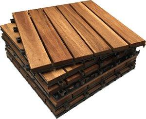Click-Deck Hardwood Tiles Lot de 6dalles carrées très épaisses à emboîter en bois d'acacia Pour terrasse, jardin, balcon, sauna 30cm