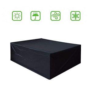 Dellcciu Housse de protection pour meubles de jardin, bâche de protection en tissu Oxford 420D pour table et chaises d'extérieur, imperméable, rectangulaire 200 x 160 x 70 cm