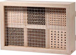 dobar 28410e Hôtel à Insectes Professionnel 6 pièces pour Abeilles Sauvages avec Cadre de Protection 45 x 15 x 31 cm Naturel