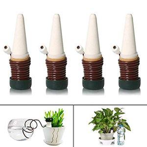 Happyshop Lot de 4 piquets d'arrosage Automatique pour Plantes d'intérieur et d'extérieur 1pcs Marron