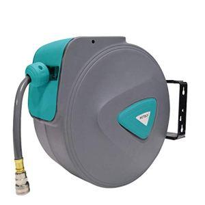 HENGMEI 20m Enrouleur de tuyau à air comprimé Dévidoir Tuyau Automatique Raccord en Cuivre 1/4″