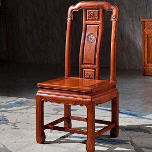 La mode Chaise en bois en bois massif Fauteuil de bureau Sculpté Chaise longue Convient Salon Cuisine (Couleur : Marron, Taille : 48x42x105cm)