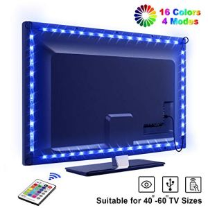 LED TV Lightstrip Etanche avec Télécommande, OMERIL Ruban LED RGB 5050 Alimenté par USB, 2.2M Bande Lumineux 16 Couleurs et 4 Modes pour 40″-60″ HDTV/PC Monitor [2x50cm+2x60cm]
