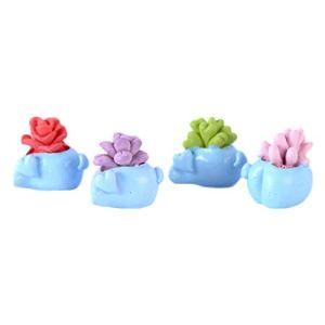 Mackur Lot de 2 décorations de Jardin en résine Bleu