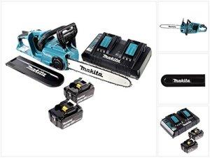 Makita DUC353Z 2xBL1850B Brushless Li-ION Tronçonneuse sans Fil 2 x 18 V = 36 V + 2X Batteries BL 1850 5,0 Ah + Chargeur Double DC18RD