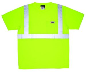 MCR Safety STSCL2SLM Class 2 Short Sleeve Polyester Jersey T-Shirt with 2 Silver Stripes and Breast Pocket, Medium, Lime by MCR Safety