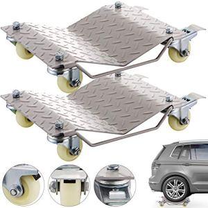 Mophorn Chariots de Manutention de Voiture x 2 680kg Positionnement Roue Déplace 12×16″